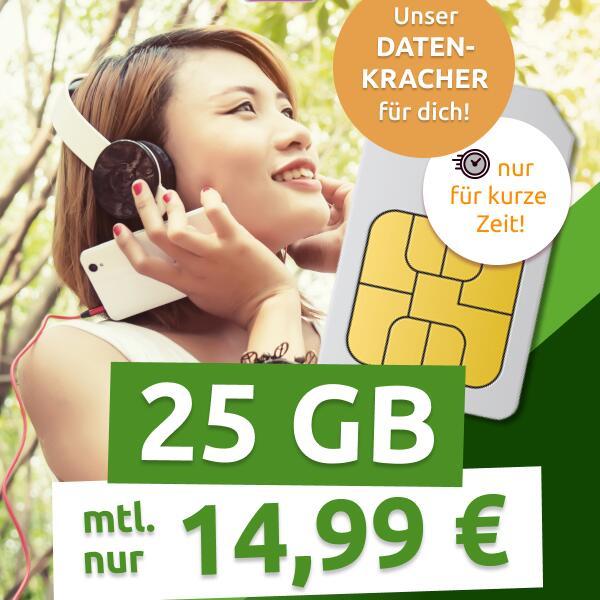 [Telekom-Netz] 25GB LTE (300 Mbit/s) Telekom green XL Datentarif von mobilcom-debitel für mtl. 14,99€ + 0€ AG