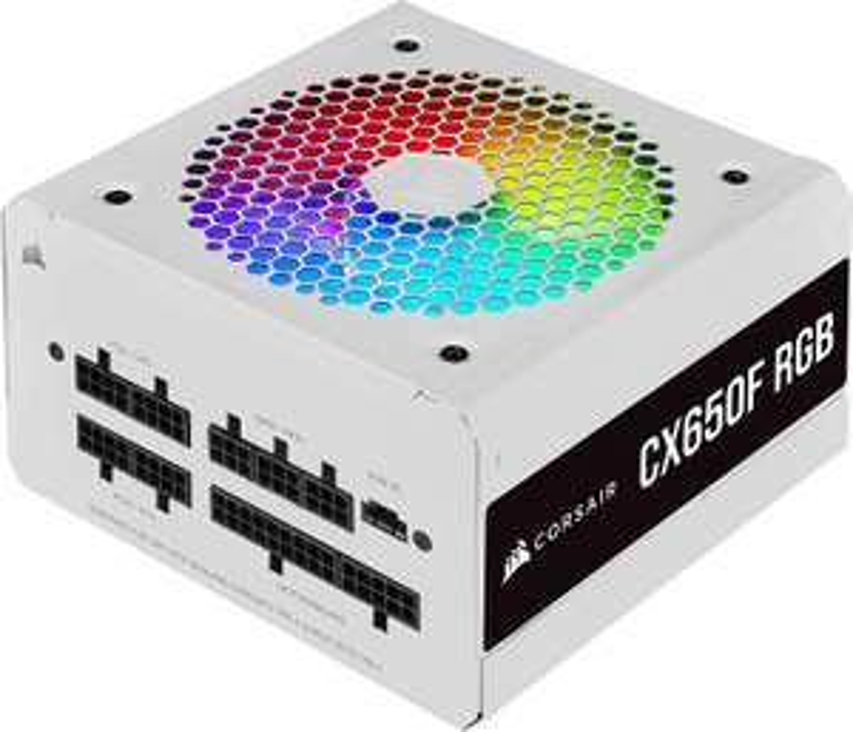 Corsair CX650F RGB vollmodulares 650W ATX-Netzteil 80+ Bronze (120-mm-RGB-Lüfter, 105 °C Kondensatoren, iCUE) Weiß