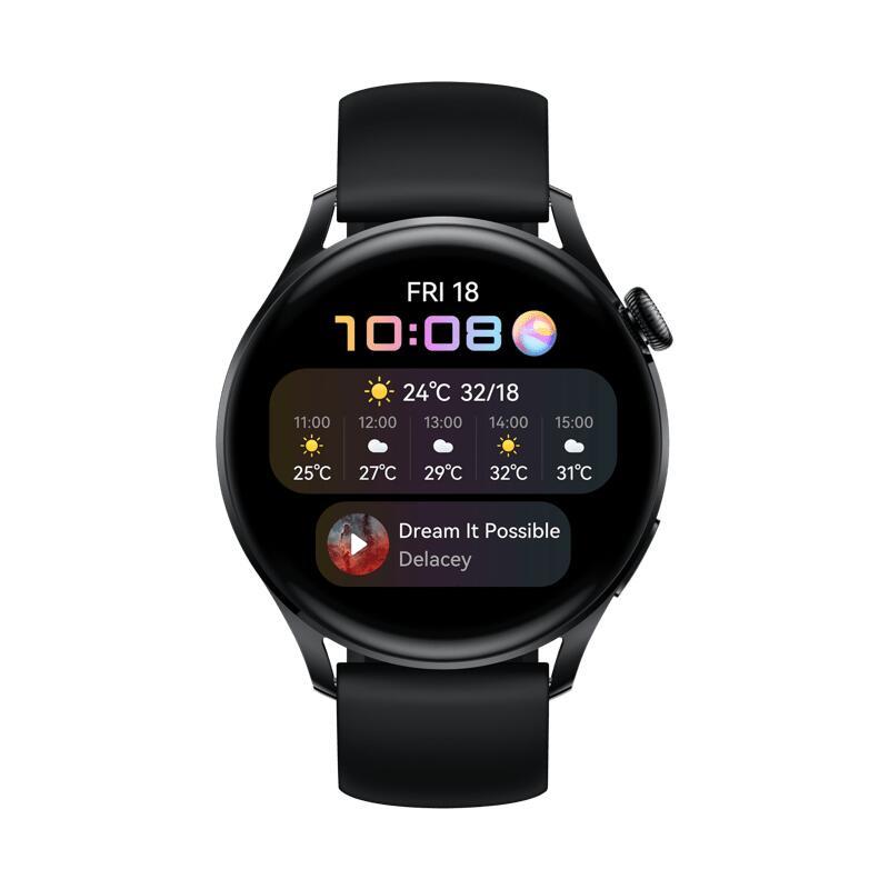 Huawei Watch 3 Active Black 46mm, Black Fluoroelastomer Strap + GRATIS Huawei FreeBuds Pro / Mega-Spar-Paket möglich