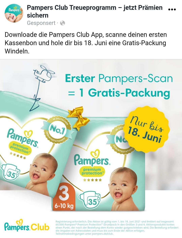 (Pampers App) 1 Packung gratis Pampers bei Neuanmeldung und Bonscannen