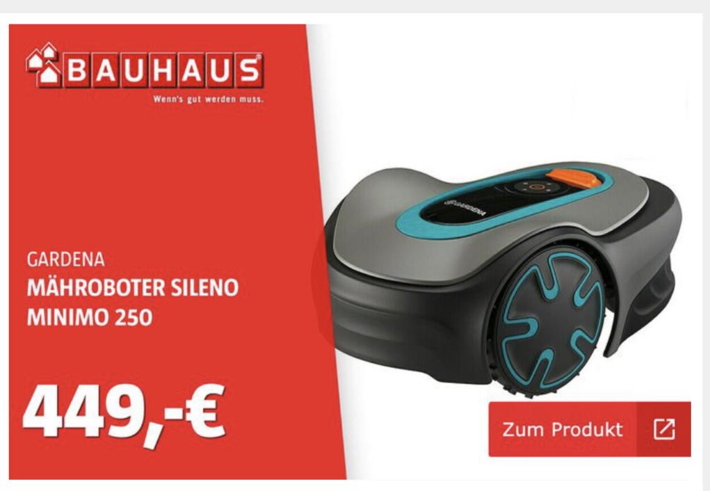 (Bauhaus Dresden) Gardena Sileno minimo 250 Mähroboter (mit Hornbach TPG nur 404,10€)