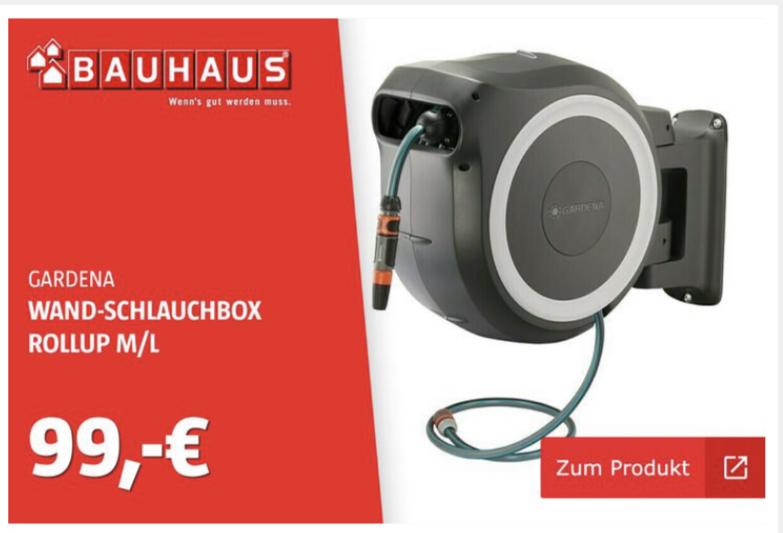 (Bauhaus Dresden) Gardena Wand-Schlauchbox RollUp M/L (mit Hornbach TPG für 89,10€)
