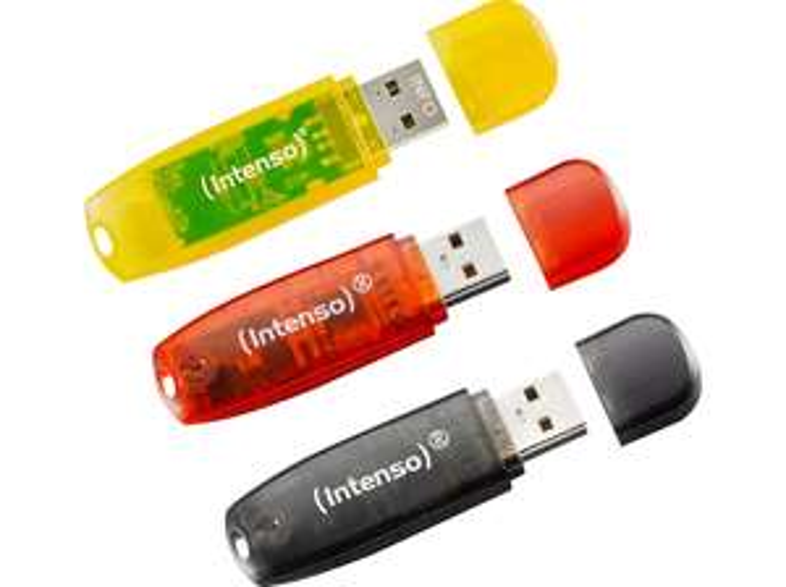 INTENSO RAINBOW 3er Pack USB-Stick, 16 GB + Intenso Fan Megafon