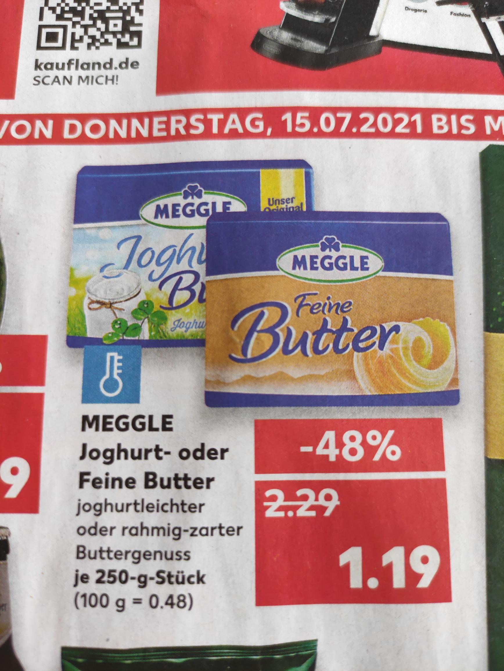 Meggle Joghurt- oder Feine Butter je 250 Gramm Block [Kaufland offline bundesweit?]