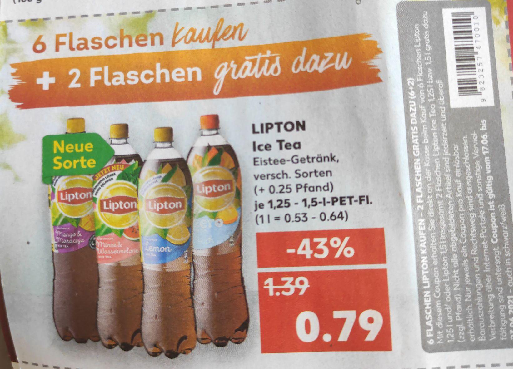 Lipton Ice Tea 1,25 bzw. 1,5 Liter Flaschen Kaufe 6 Flaschen, bekomme 8 Flaschen / je Flasche 0,25 EUR Pfand [Kaufland offline bundesweit?]