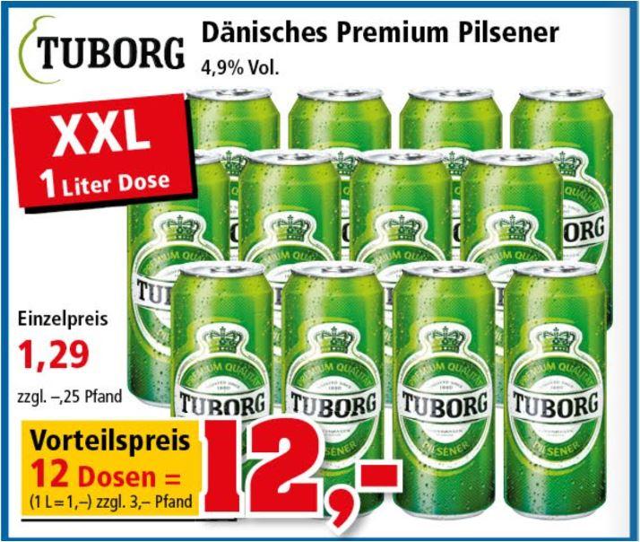 12 Liter TUBORG Pilsener für 12 Euro (1 Liter-Dose für 1 Euro) [Thomas Philipps]