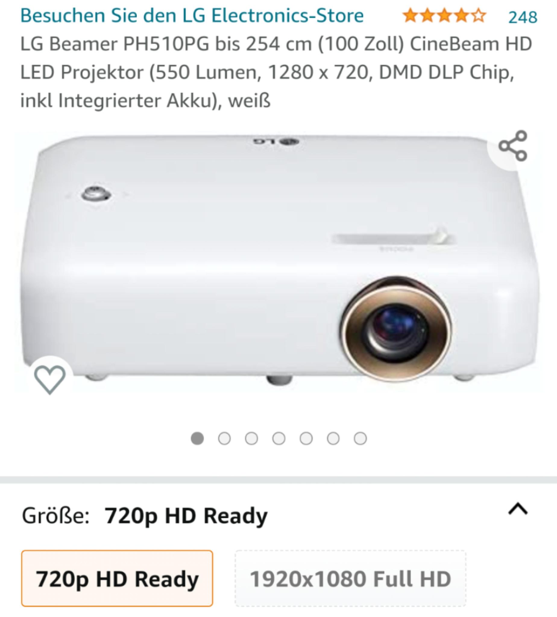 LG Beamer PH510PG mit Akku 720p