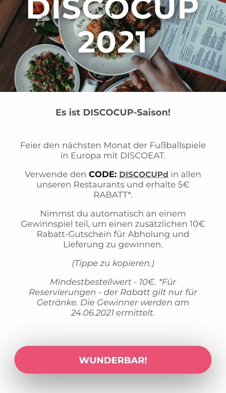 5€ ab 10€ MBW bei DiscoEat (Lokal Berlin, Köln, London)