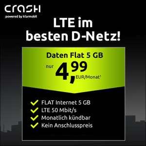 [Monatlich kündbar] 5GB LTE (50 Mbit/s) Crash Datentarif für mtl. 4,99€ + 0€ AG oder 10GB LTE Datentarif für mtl. 9,99€ + 0€ AG (VF-Netz)