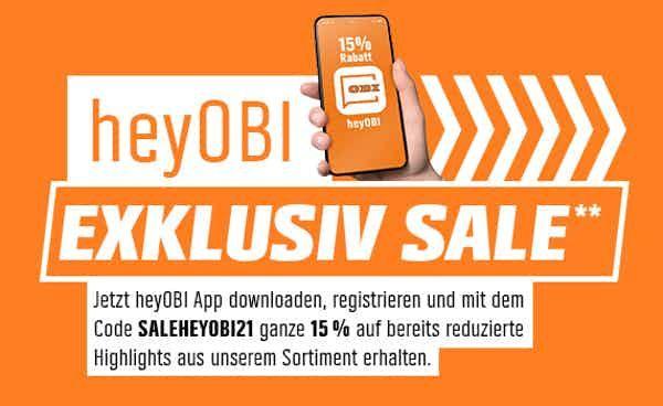 """15 % auf """"gute"""", ausgewählte Produkte aus dem OBI Sale"""