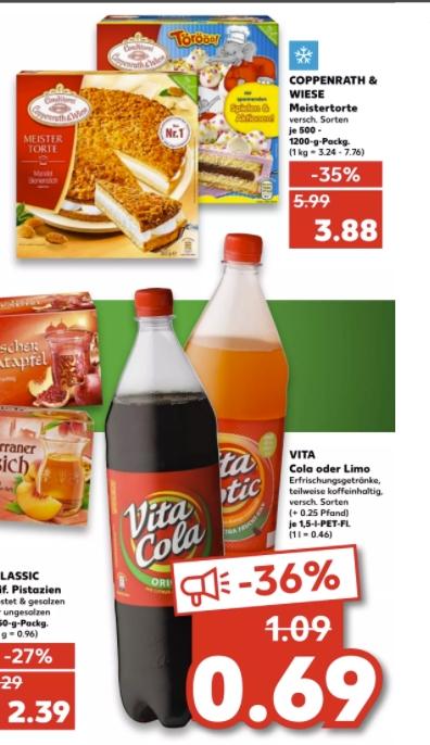 [Kaufland ab 28.06]Coppenrath&Wiese Meistertorte 500-1200g für 3,88€/Vita Cola/Limo Limo je 1,5l Flasche für 0,69 (Nicht Bundesweit)