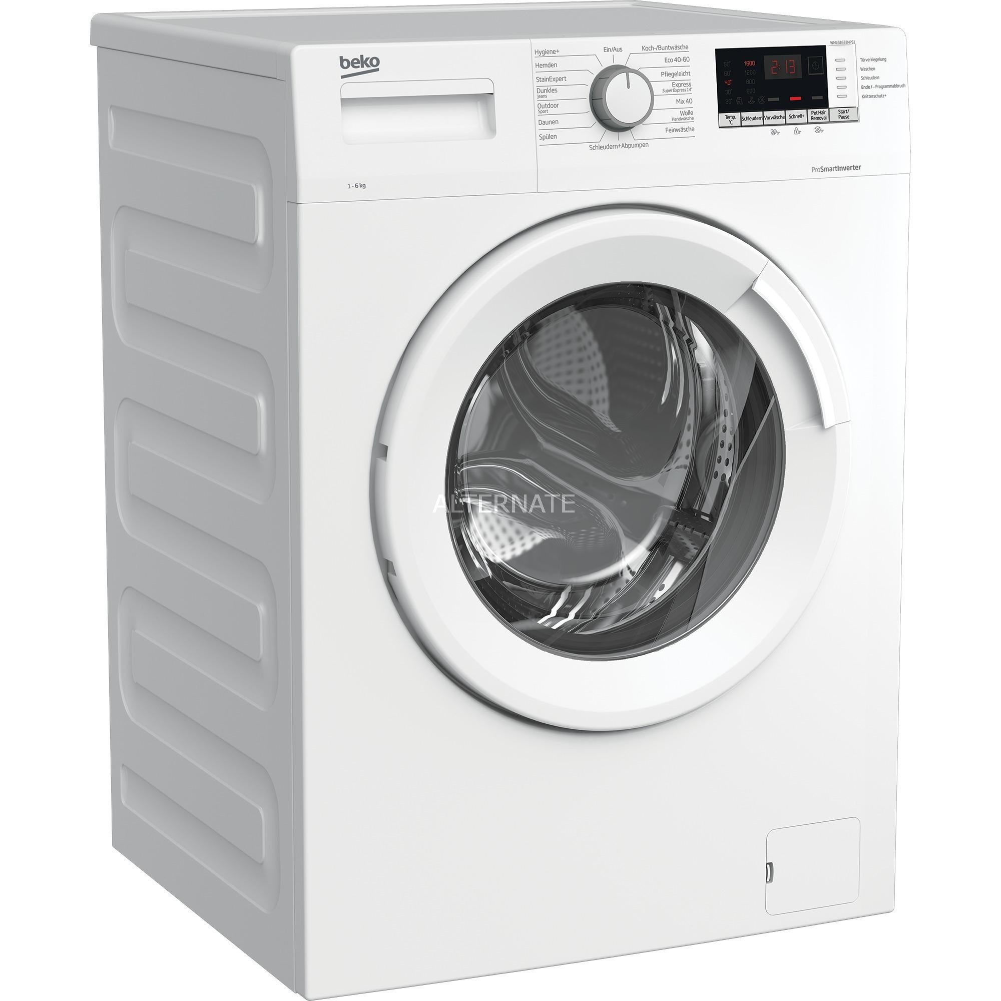 BEKO WML61633NPS1, Waschmaschine, 6Kg, 1600U/min