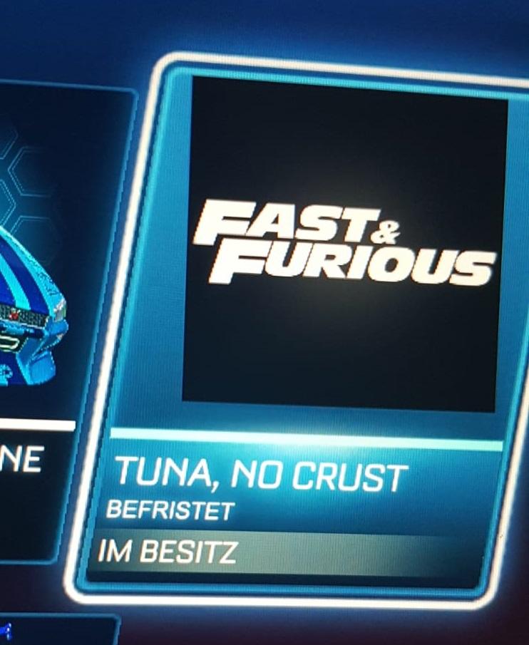 "Rocket League - kostenloser Limitierter Spielertitel ""Fast &Furious"" TUNA, NO CRUST"