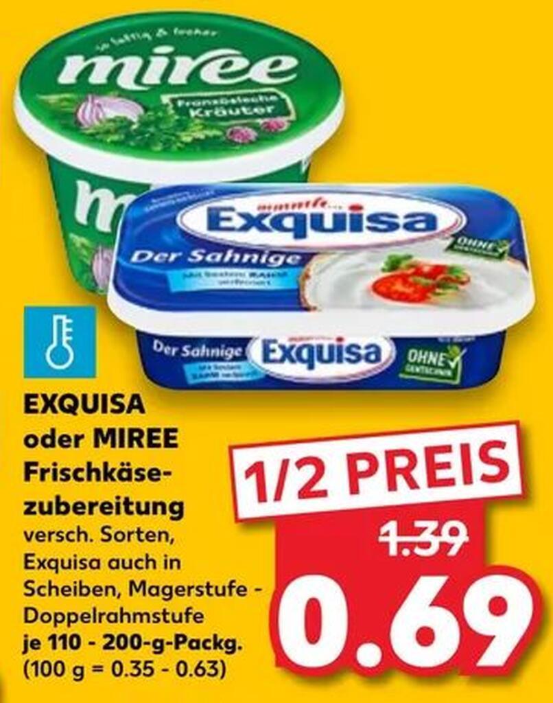 [KAUFLAND 25.+26.06.] 3x Exquisa Fitline Frischkäse (auch Köringer Frischkäse) mit Coupon für 1,07€ (=0,36€/Stück)