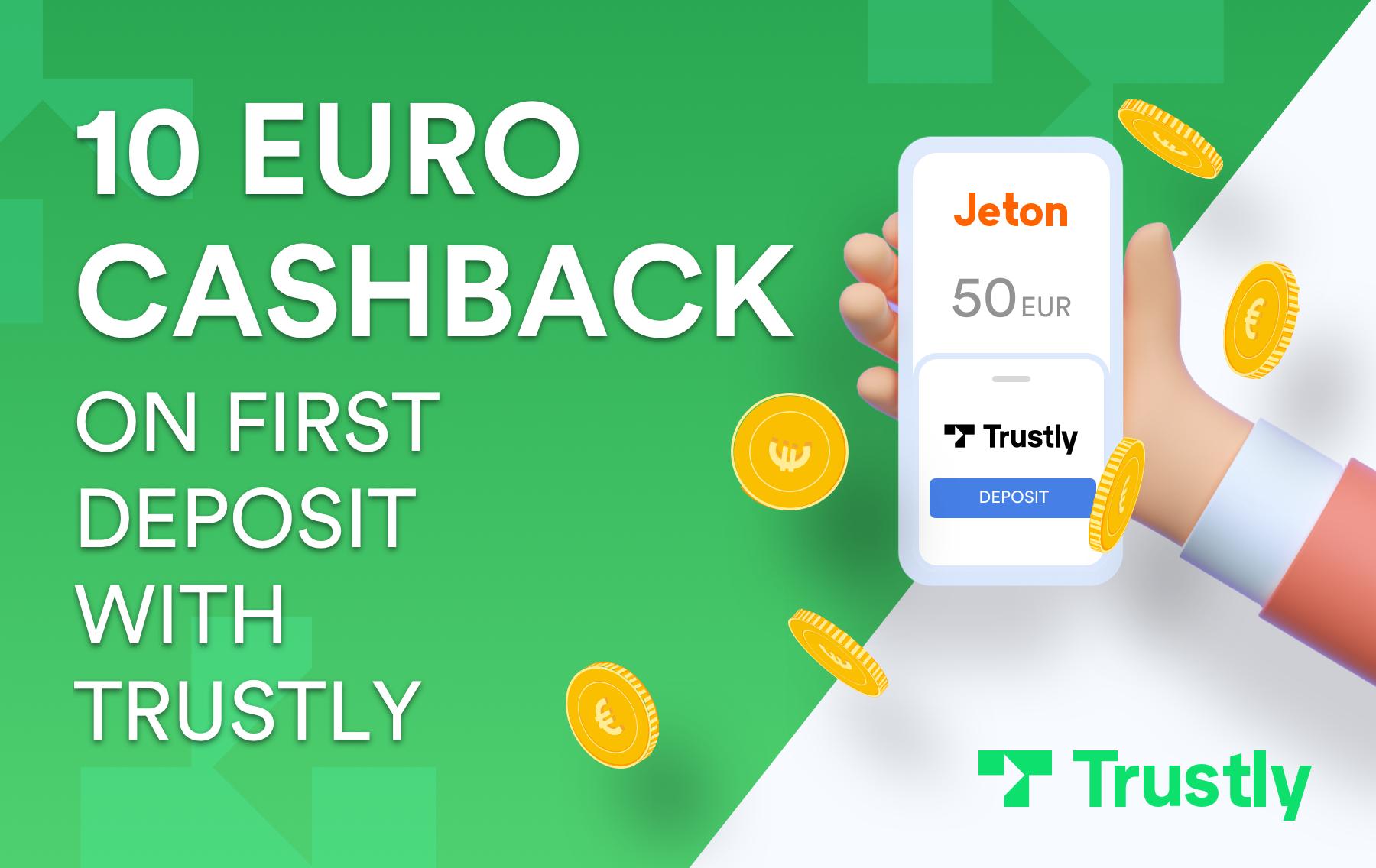 Jeton Wallet 10€ Cashback bei Trustly Einzahlung