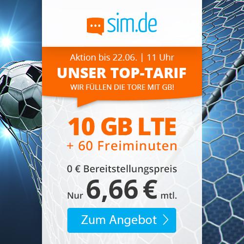 10GB LTE Tarif von sim.de für mtl. 6,66€ (60 Freiminuten, VoLTE, WLAN Call, 3 Monate Kündigungsfrist) im Telefonica-Netz
