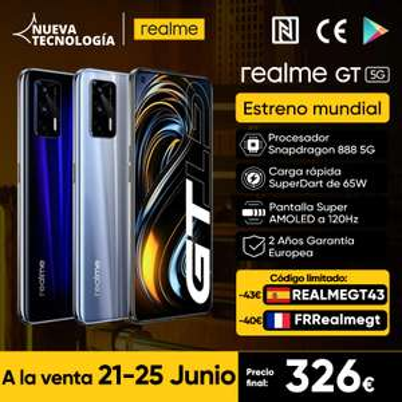 realme GT 5G, Snapdragon 888, 120Hz Amoled, Sony IMX 682, NFC + WiFi 6E, 65W laden (EU-Versand+Garantie 2J)