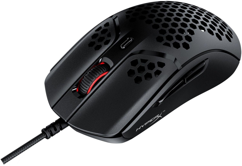 HyperX Pulsefire Haste - RGB Gaming-Maus (59g leicht, Hyperflex-Textilkabel, 16.000 DPI, 6 programmierbare Tasten)