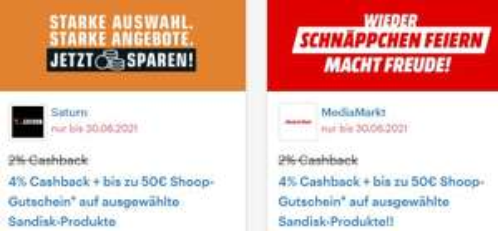[Shoop] 4% Cashback auf 3 ausgewählte Sandisk / WD Festplatten bei Media Markt & Saturn + bis zu 50€ Shoop-Gutschein