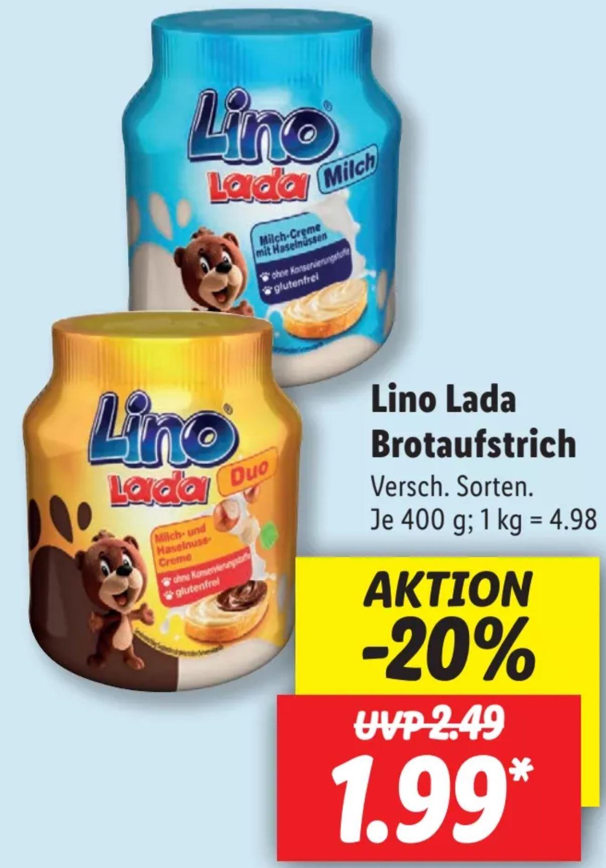 Lino Lada Milch- und Haselnuss-Creme Brotaufstrich 400g [Lidl]