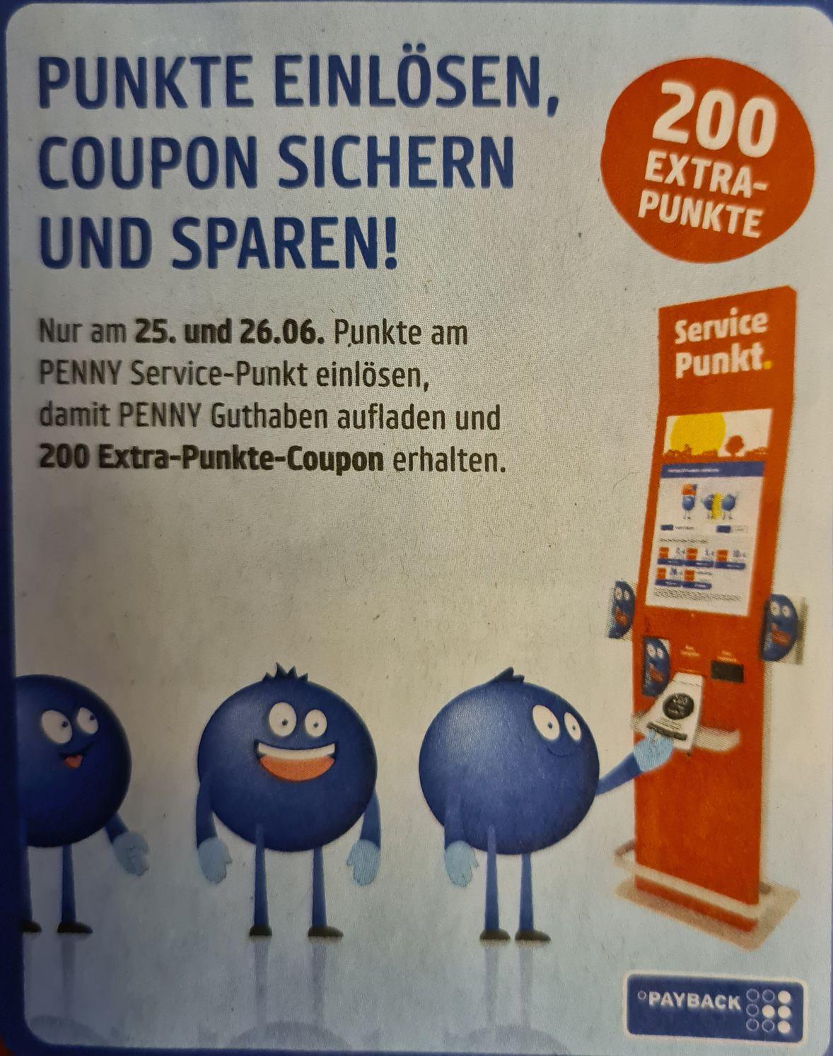 Payback / Penny 200 Extra Punkte für Einlösung von Payback Punkten am 25. und 26. Juni, 2 x einlösbar, Freebie möglich