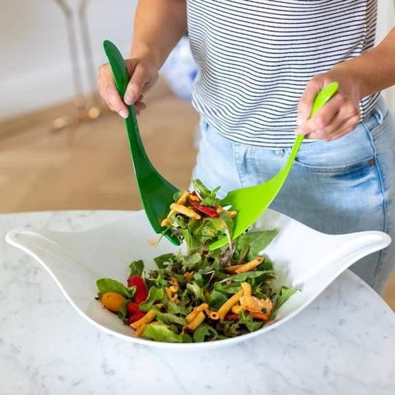 koziol Salatschale mit Besteck 3 l Leaf L+, thermoplastischer Kunststoff