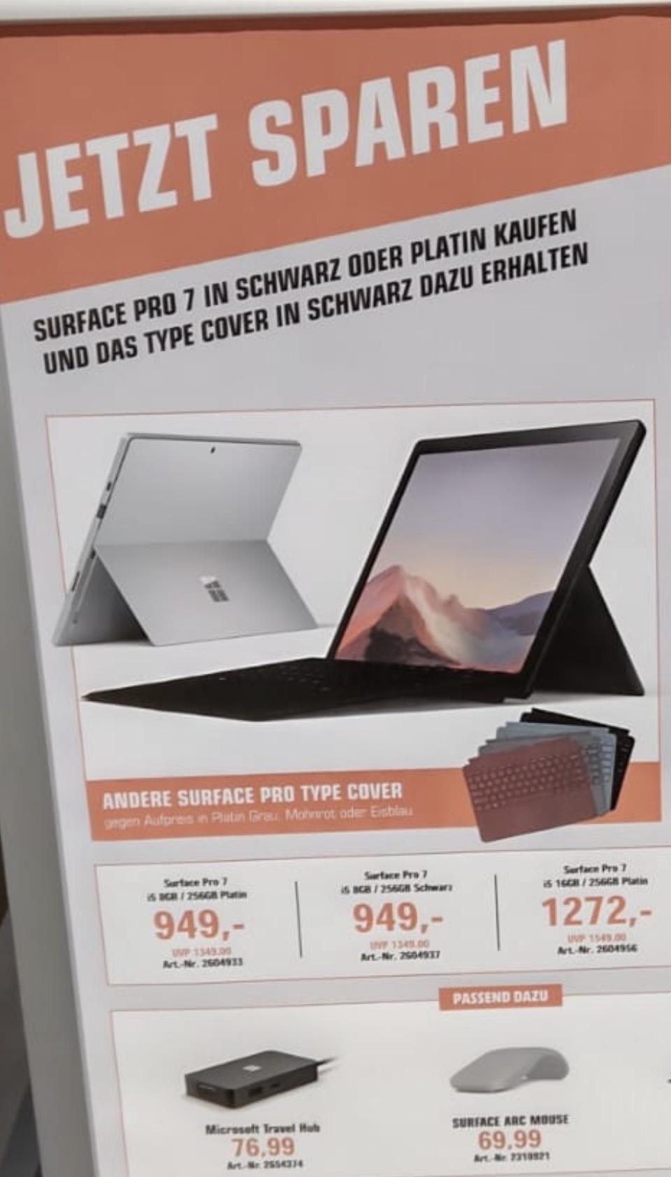 [Lokal Saturn Frankfurt] Microsoft Surface Pro 7 i5/8 GB/256 GB inkl. Type Cover und Microsoft 365 single
