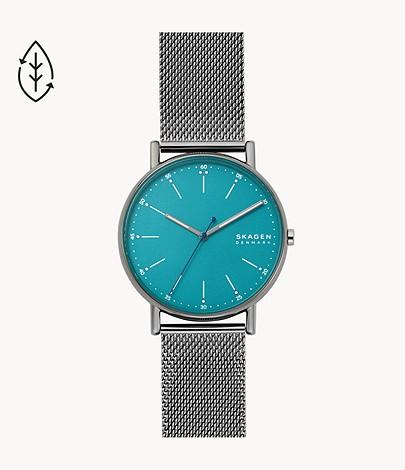 Summer Sale bei Skagen mit bis zu 50% Rabatta auf ausgewählte Uhren & Schmuck, z.B. Uhr Signatur 3-Zeiger-Werk Milanaise Edelstahl anthrazit