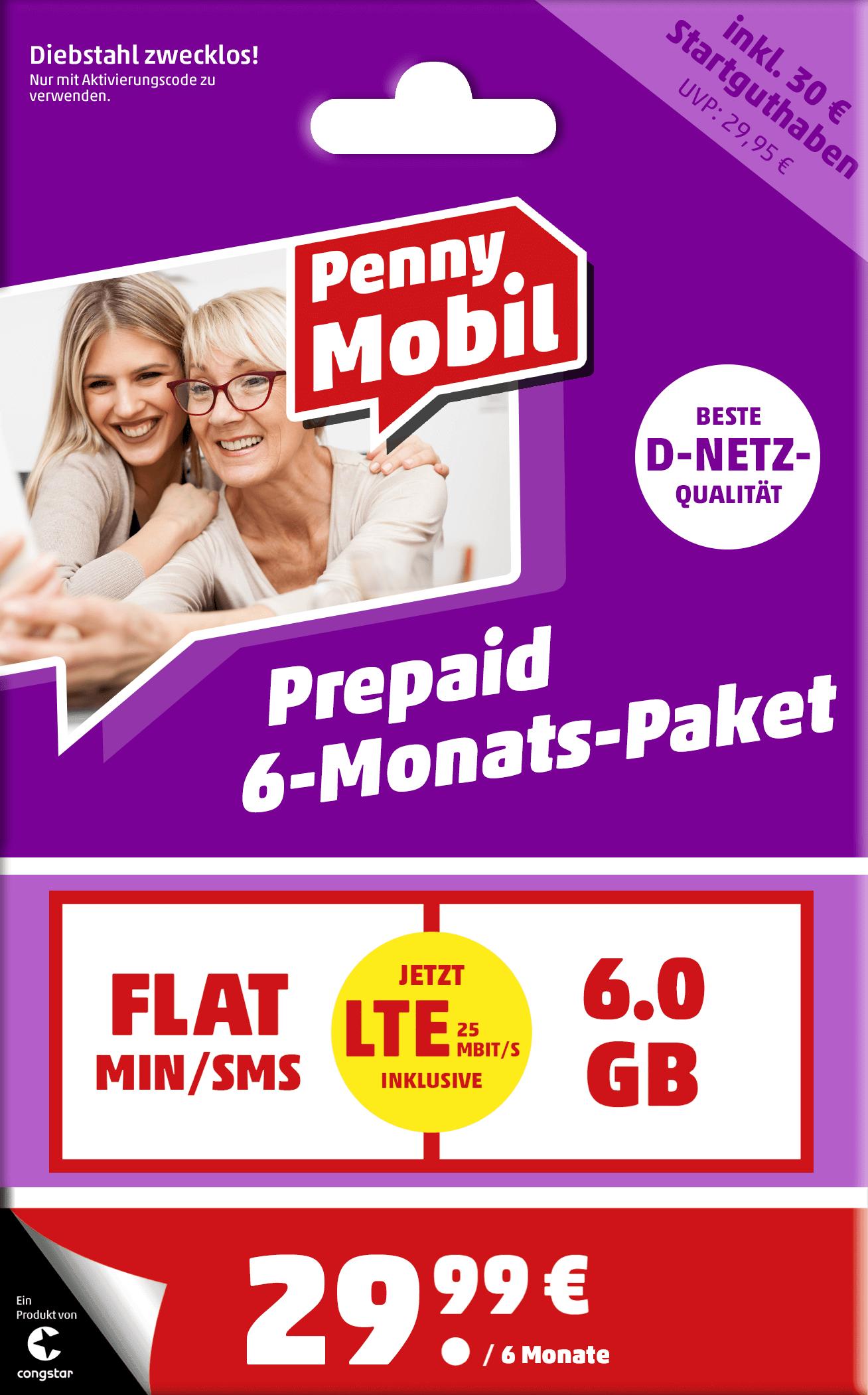 Penny Mobile Prepaid 6GB LTE mit Allnet-Flat im D1 Netz für 29,99€/6Monate (5€ im Monat)
