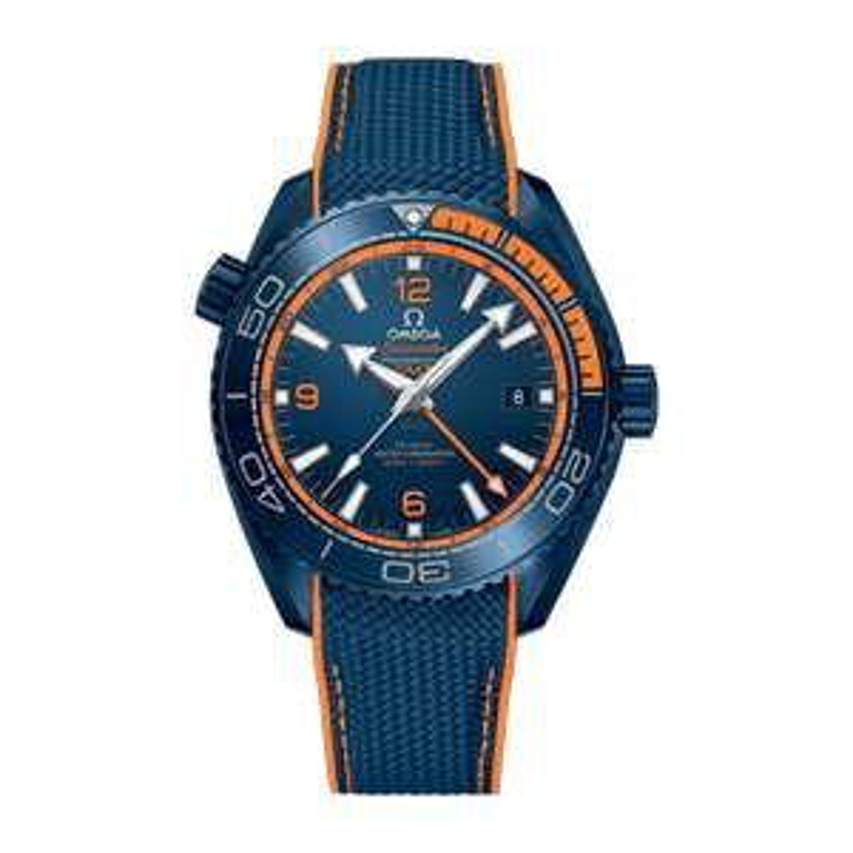 Vom offiz. Omega Händler: Big Blue Omega Seamaster Planet Ocean 600M Co-Axial Master Chronometer / Keramik / GMT Automatikuhr