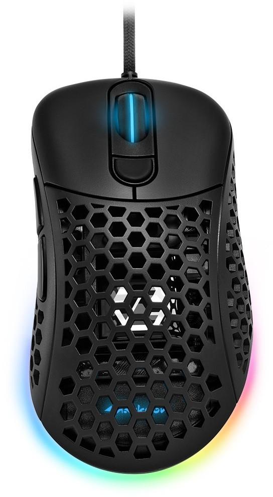 Sharkoon Light² 200 Gaming-Maus weiß oder schwarz (PixArt PMW 3389 bis 16.000dpi, Omron 20M, 6 Tasten, Wechseloberfläche, USB, RGB, 62g)