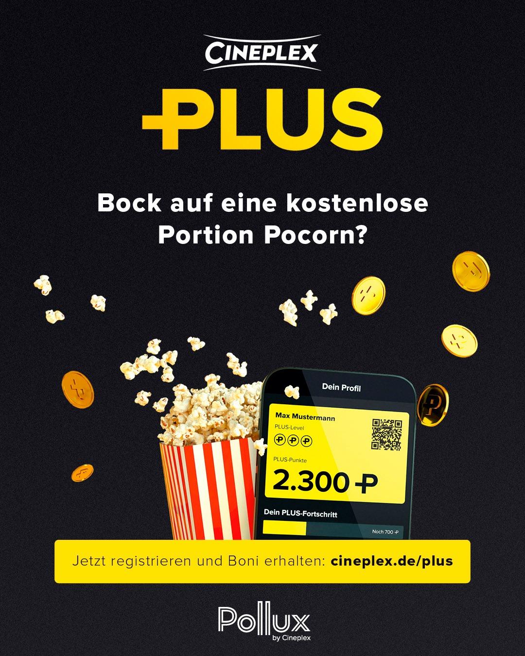 [Cineplex] Gratis Popcorn in Cineplex Kinos durch Bonusprogramm