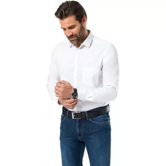 2x Otto Kern Herren Baumwollhemd langarm Regular-fit (in weiß oder kariert, Gr. 39 - 46)