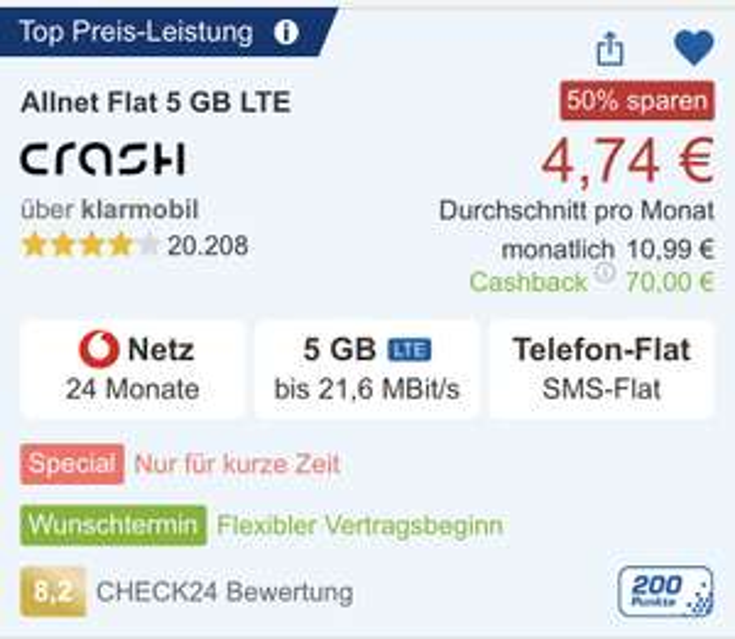 [CHECK24 APP] Crash 5GB LTE Allnet SMS/TEL VoLTE eff.~5,02€/Monat, Vertrag 24 Monate (personalisiert)