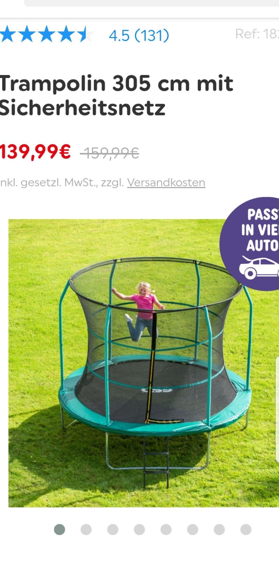 Kinder Trampolin v. Smythstoys versandkostenfrei 305 ×250 für 139Euro oder den 244 cm für 119Euro für den Garten !