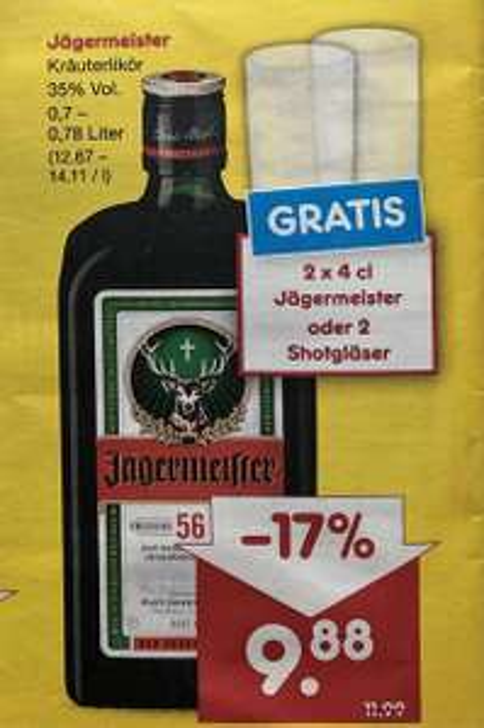 Jägermeister mit 2 Shotgläser oder 2 x 4cl gratis [Netto MD]