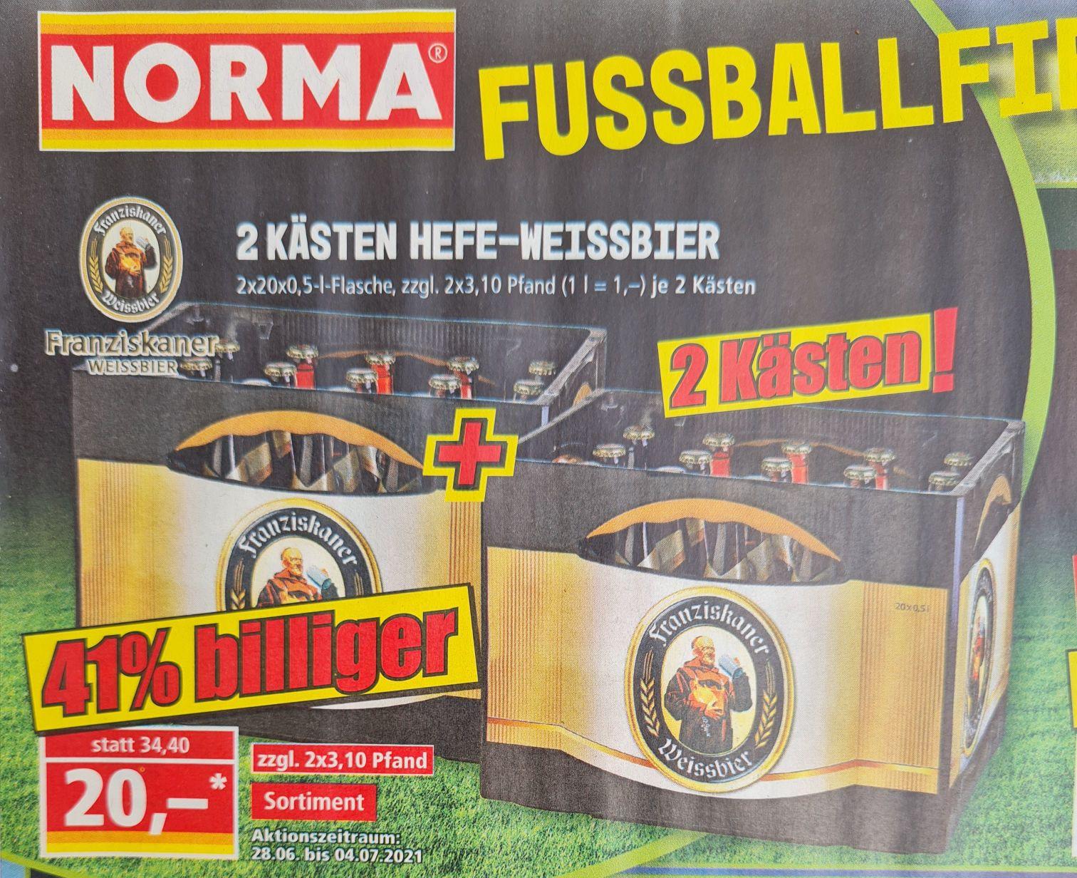 2 Kästen Franziskaner-Hefe-Weissbier 2x20x0,5 l Flaschen zzgl Pfand ab 28.06 Norma (Lokal?)
