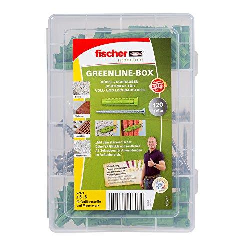fischer MEISTER-BOX GREENLINE Spreizdübel SX + A2 Schraube, nachhaltiges Dübelset mit 120 Teilen (Prime)