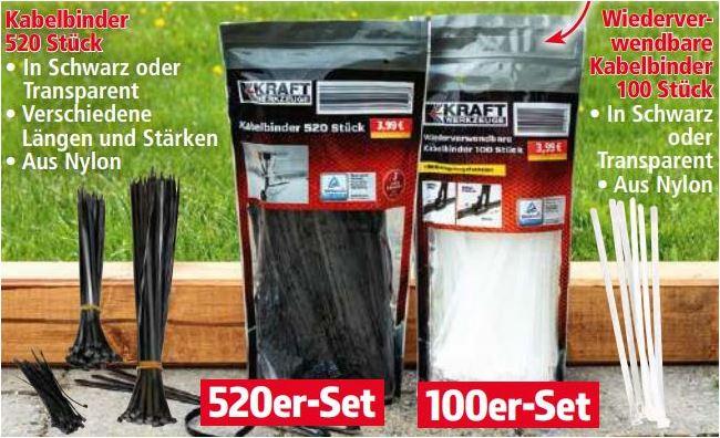 520 Stück Kabelbinder oder 100 Stück wieder verwendbare Kabelbinder für je 3,99 Euro [Norma]