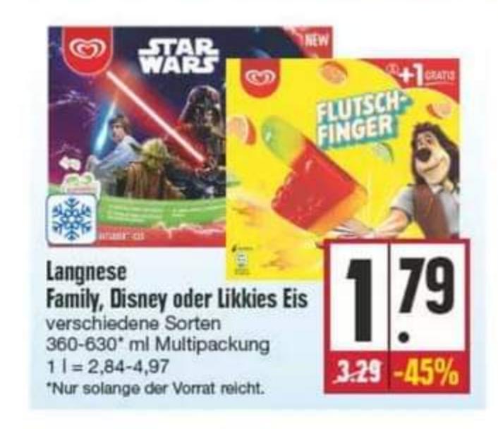 (Edeka Nordbayern-Sachsen-Thüringen) 3x LANGNESE Family, Disney oder Likkies Eis abzüglich 1€ Scondoo Rabatt für 4,37€
