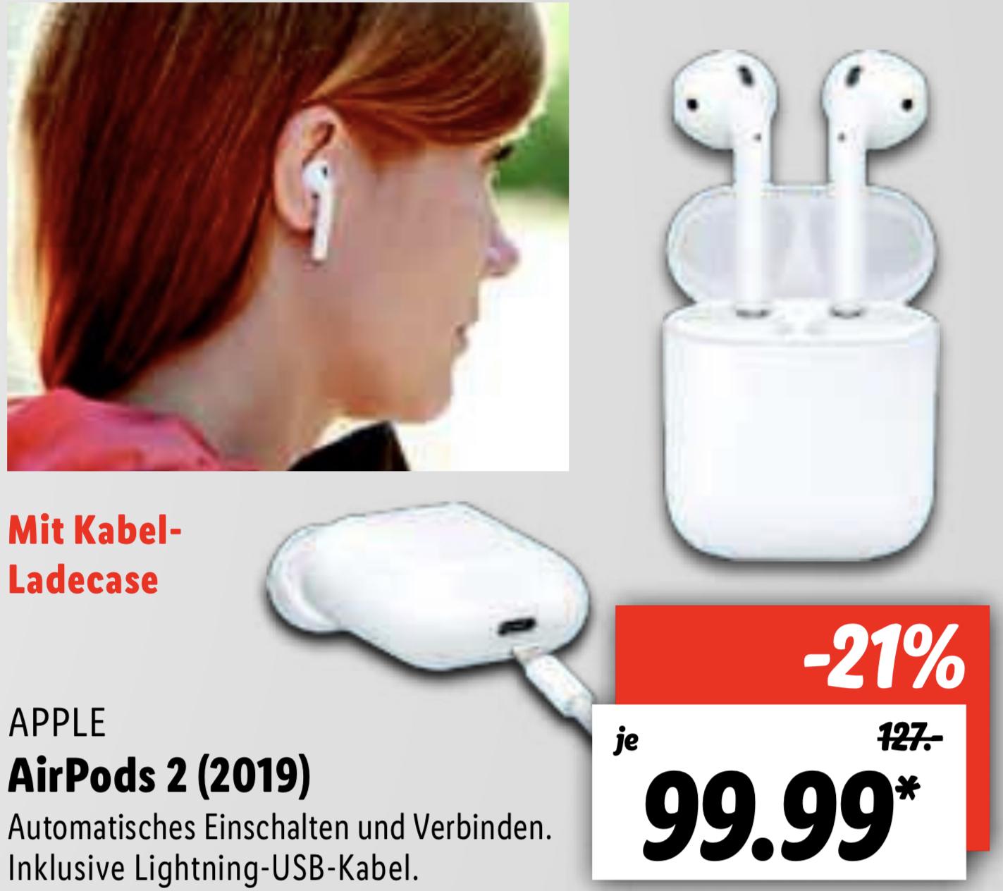 Lidl Lokal Köln, Straubing, Nortorf u. 8 weitere Standorte: Apple Airpods 2 für 94,99€