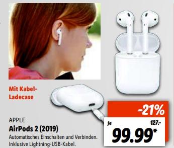 [Lokal Lidl Reinfeld] Apple Air Pods 2 für 94,99€