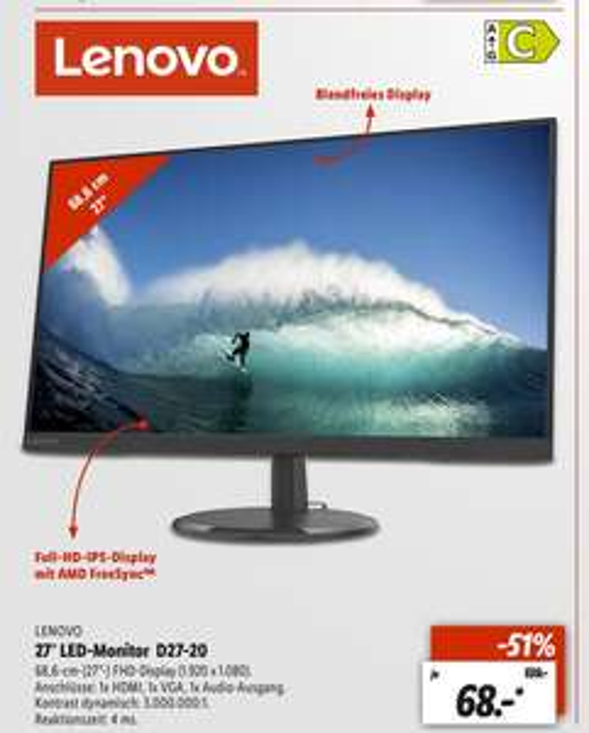 [Regional Lidl Neu Ulm ab 25.06] Lenovo Monitor D27-20 68,5 cm (27 Zoll), 4 ms, 3 Mio. : 1 EEK: A+ für 68,-€