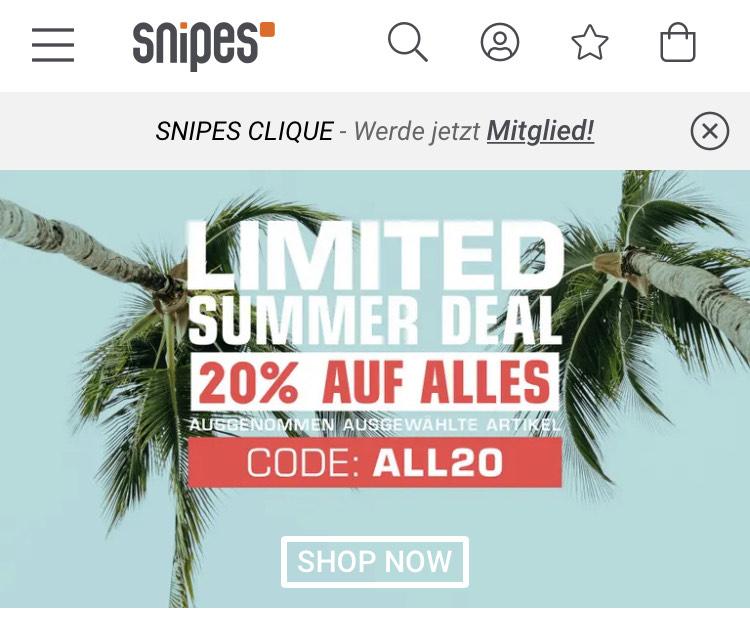 20% bei Snipes auf alles