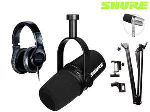 Shure MV7-K Podcast-Mikrofon + SRH440 Kopfhörer + Boom Mikrofonarm