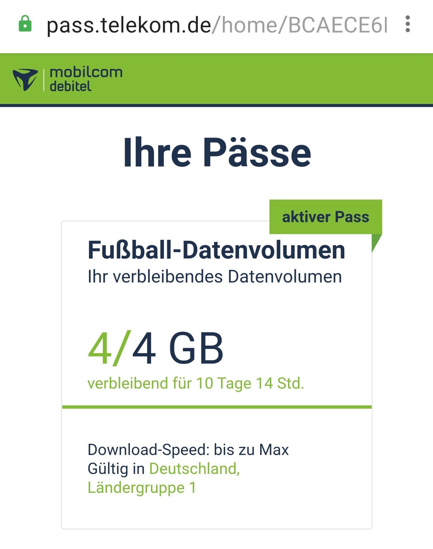 Für Mobilcom debitel Telekom Kunden gibt es auch die 1GB/Tor Daten Kostenfrei Aktion! Nur Magenta leider nicht Green.