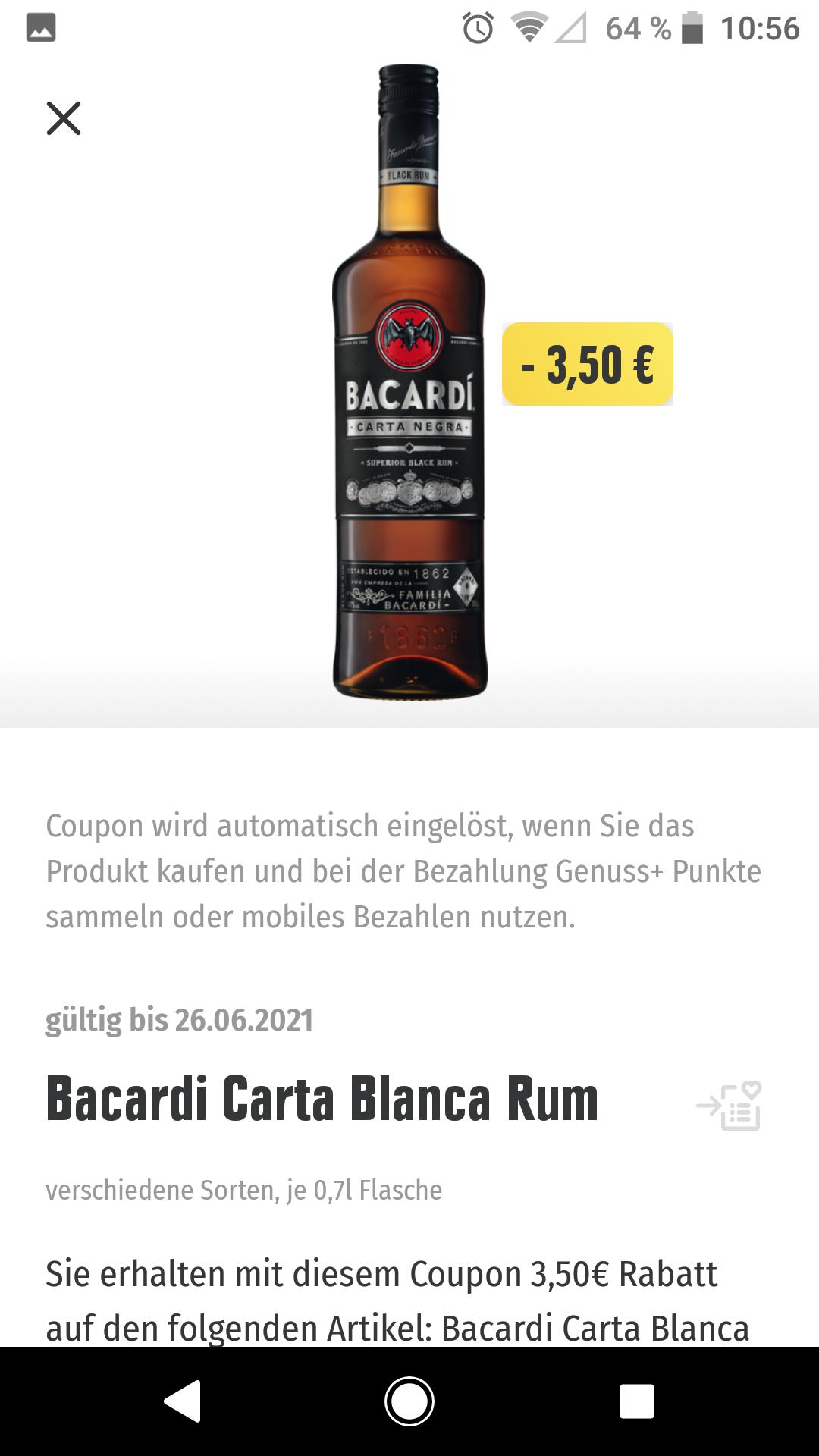 [Rhein-Ruhr] 10,99 eur Regional Edeka Genuss app bacardi carta negra blanca rum 0,7l