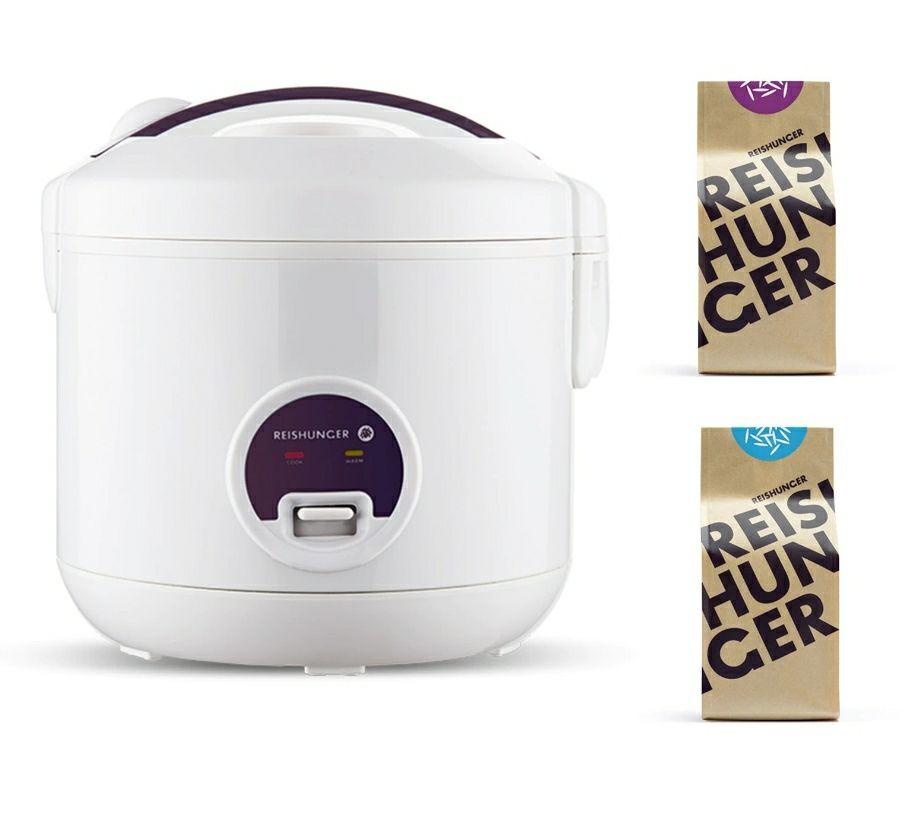 Reishunger Reiskocher 1,2 L mit 500W (für 6 Pers.) im Bundle inkl. je 200g Bio Basmati und Jasmin Reis