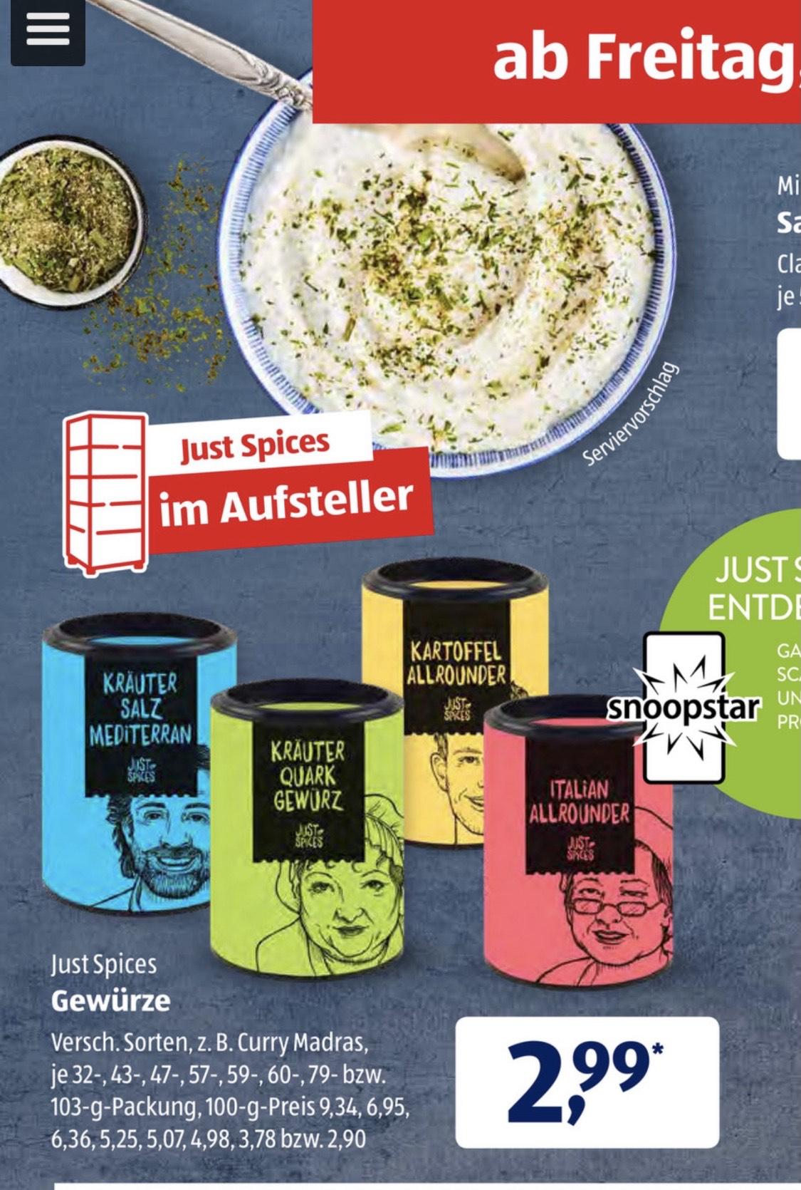 Just Spices Gewürze bei Aldi Süd (ab 25.6)