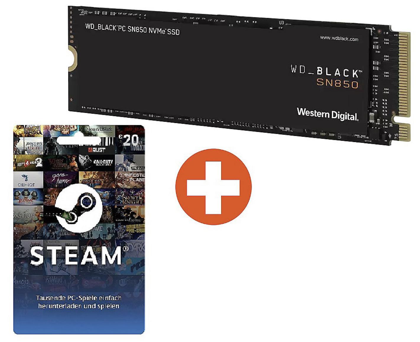 Western Digital WD Black SN850 High-Performance NVMe M.2 SSD 1TB + 20€ Steam Guthaben für 164,89€ inkl. Versandkosten (159,90€ bei Abholung)